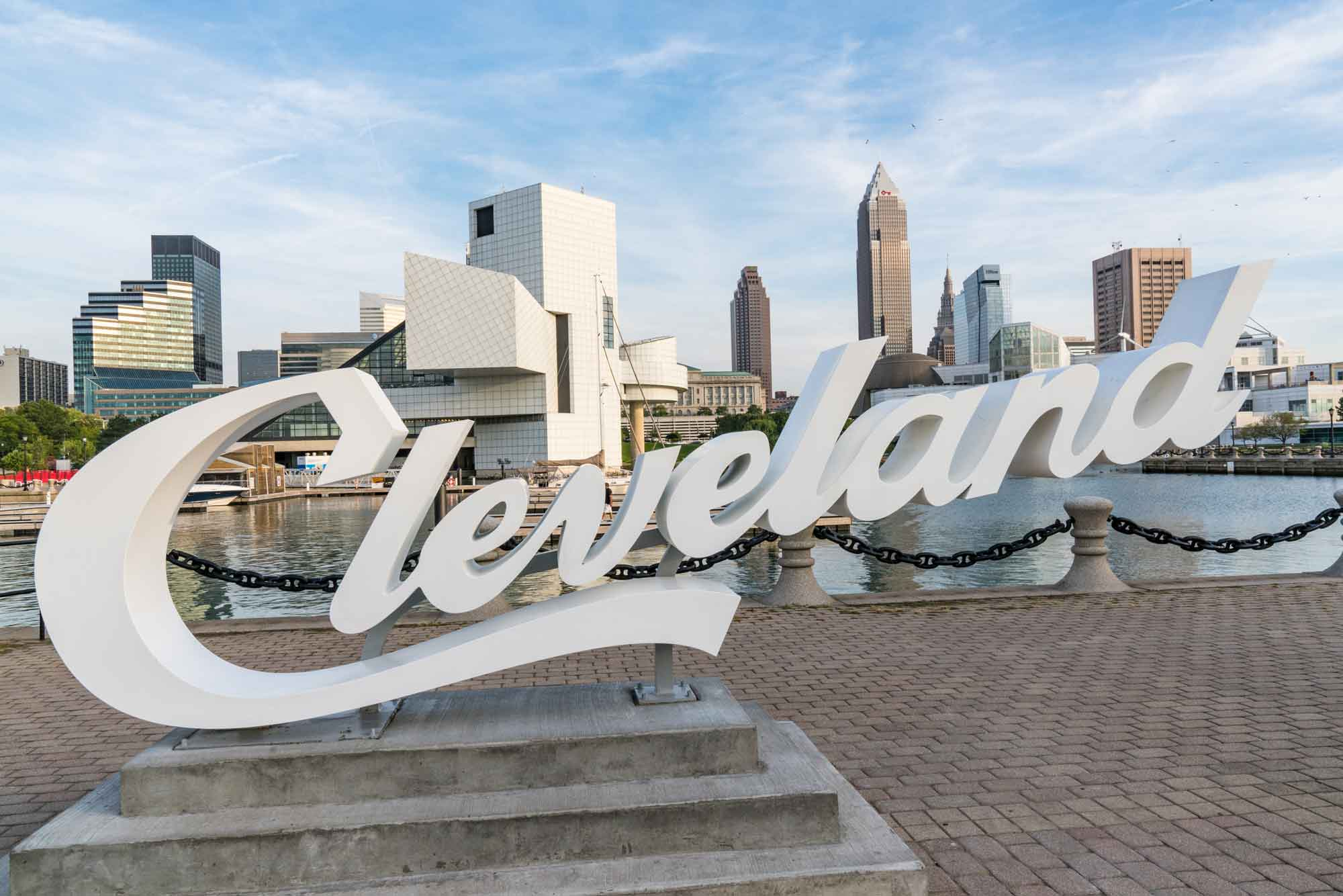 Cleveland Sign In front Of the Skyline Near Uncle Bens Pawn Shop.